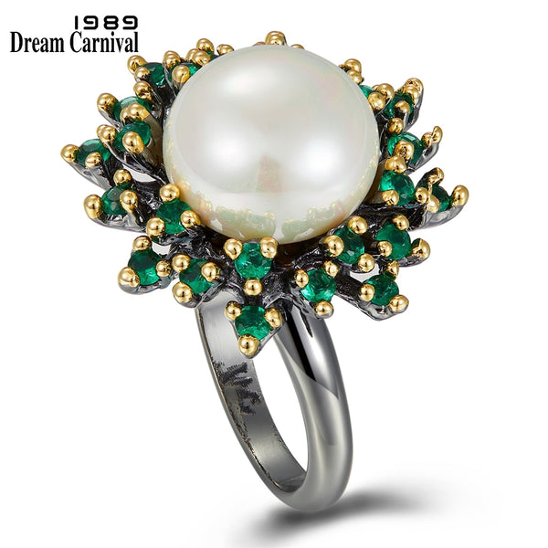 Dreamcarnival1989 Blossoming Flower Rings for Women Promise Wedding Ring Unique Green Zircon White Pearl Different Look WA11719