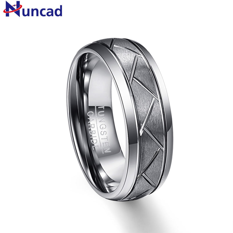 NUNCAD 8mm Men's Domed Diagonal Grooves Tungsten Carbide Rings Silver Grey Brushed Wedding Band Comfort Fit Size 7-12