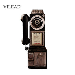VILEAD 30cm Resin Retro Telephone Figurines Old Dirty Crafts Vintage Home Decor Ornaments Creative European Crafts Accessories
