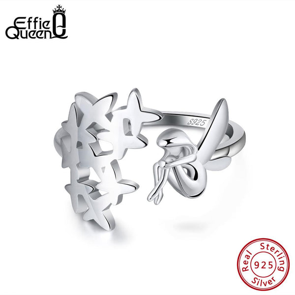 Effie Queen 925 Sterling Silver Women Rings Fairy Angel Wings Elf Adjustable Big Finger Ring Female Silver Jewelry Anillos BR99
