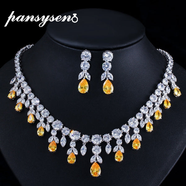 PANSYSEN Top Quality Sparking Water Drop Citrine Gemstone Necklace/Earrings Jewelry Set 925 Sterling Silver Bridal Jewelry Sets