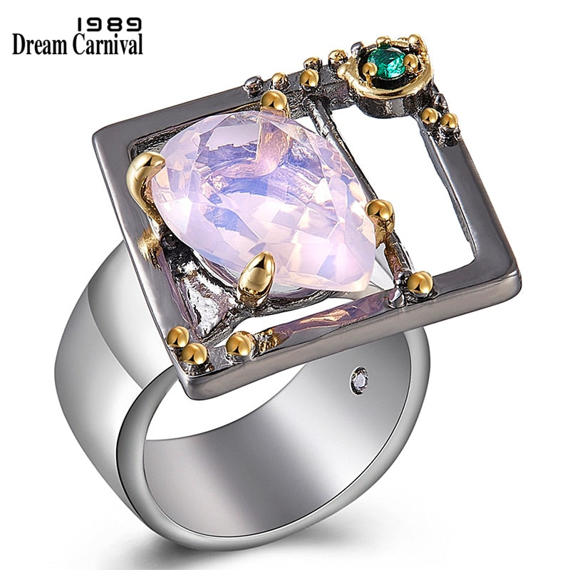 DreamCarnival 1989 Brand New Gothic Ring for Women Tear Drop Pink Zircon Chic Chic Jewelry Party Must Have Drop Shipping WA11635