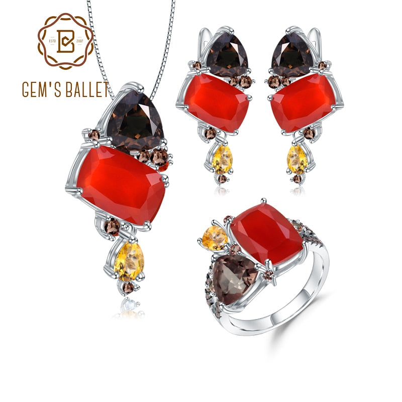 GEM'S BALLET Natural Red Agate Candy Irregular Fine Jewelry 925 Sterling Silver Ring Earrings Pendant Jewelry Set For Women
