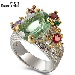 DreamCarnival 1989 New Infinity Colors Stones Women Rings Silver Gold Color Coated Gorgeous Shiny Cubic Zirconia Jewelry WA11636