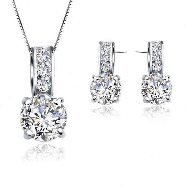 European Brand 925 Sterling Silver Cubic Zircon Pendant  Necklace/Earring Women Jewelry Sets Wholesale