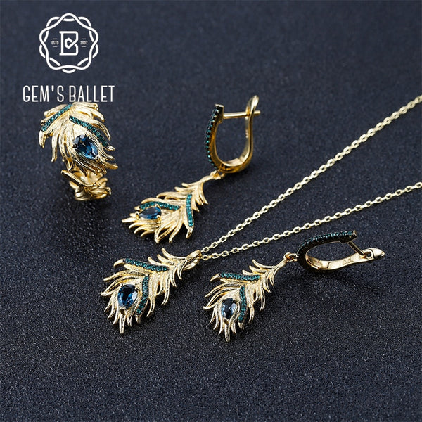 GEM'S BALLET Natural London Blue Topaz Gemstone Earrings Ring Pendant Set 925 Sterling Silver Golden Feather Women's Jewelry Set