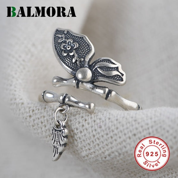 BALMORA Real 925 Sterling Silver Open Rings for Women Original Butterfly Silver Rings for Lover Gifts Retro Jewelry Anillos