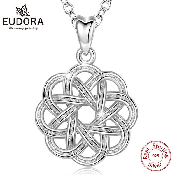 Eudora Sterling silver Celtics Knot Necklace flower of life Pendant with box Good Luck Jewelry for Women for dropshipping CYD176