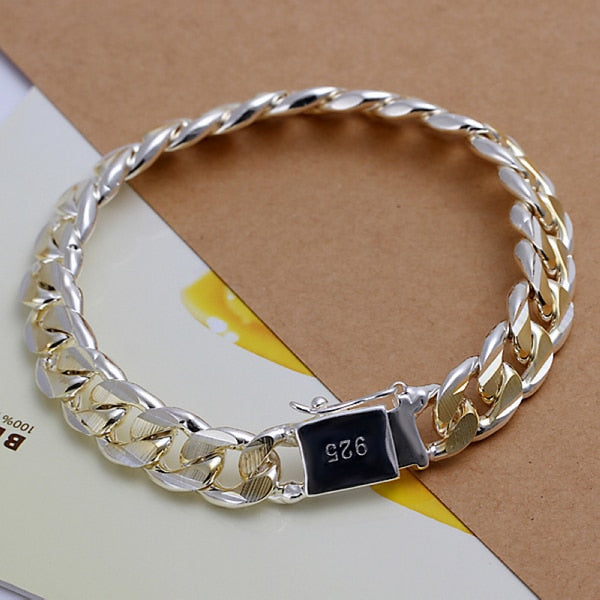 Men's Jewelry Bracelet Pulseras 925 Silver 10mm Width 21cm Thick Exquisite Fashion Silver Bracelet Women's Fine Jewelry