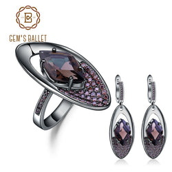 GEM'S BALLET Natural Smoky Quartz Vintage Gothic Jewelry Sets Pure 925 Sterling Silver Earrings Ring Set For Women Fine Jewelry