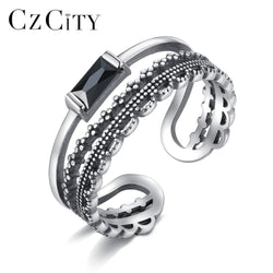 CZCITY Hiphop Style Genuine 925 Sterling Silver Open Rings For Women Retro Silver Stackable Finger Ring Engagement Fine Jewelry
