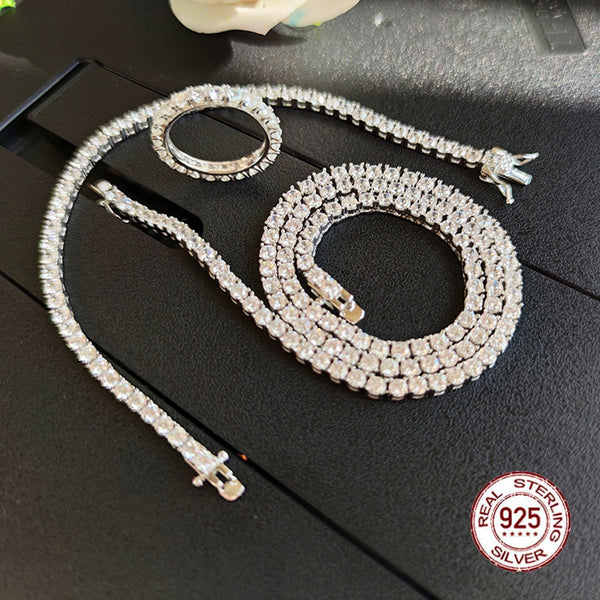 Solid 925 Sterling Silver Tennis Necklace Bracelet Ring Sets Pave 3mm Zirconia Crystal Engagement Wedding Promise Jewelry sets