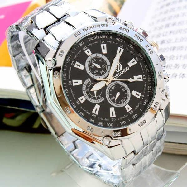 ORLANDO Fashion Men Watches Men Sports Watches Blue Dial Quartz Wristwatches Stainless Steel Men's Watches relogio masculino
