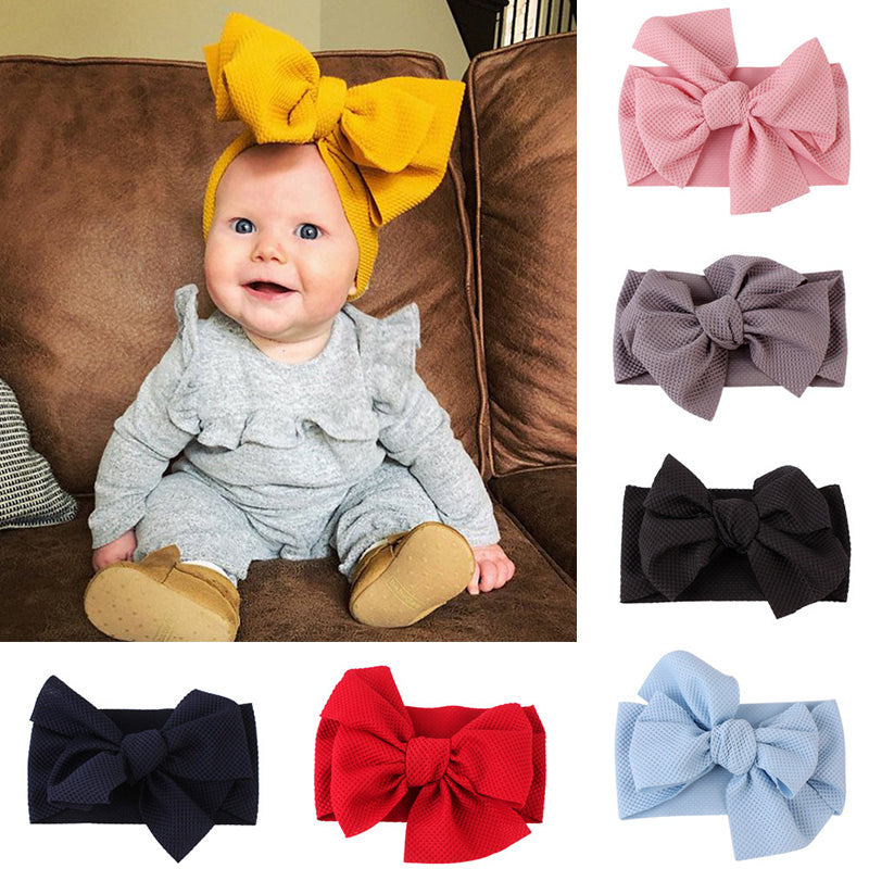 Baby Girls Headbands Toddler Infant Baby Hair Accessories For Girl DIY Turban Solid Big Bowknot Hair Band  Girl Accessories