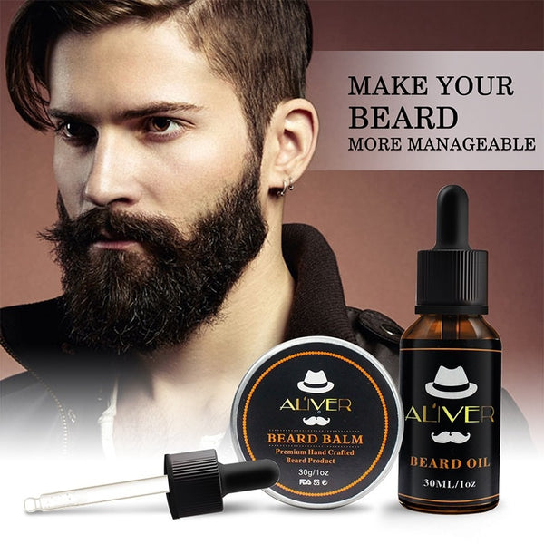 Natural Organic Men Beard Growth Oil Men Moustache Cream Beard Oil Kit Beard Wax Balm Hair Loss Products Leave-In Conditioner