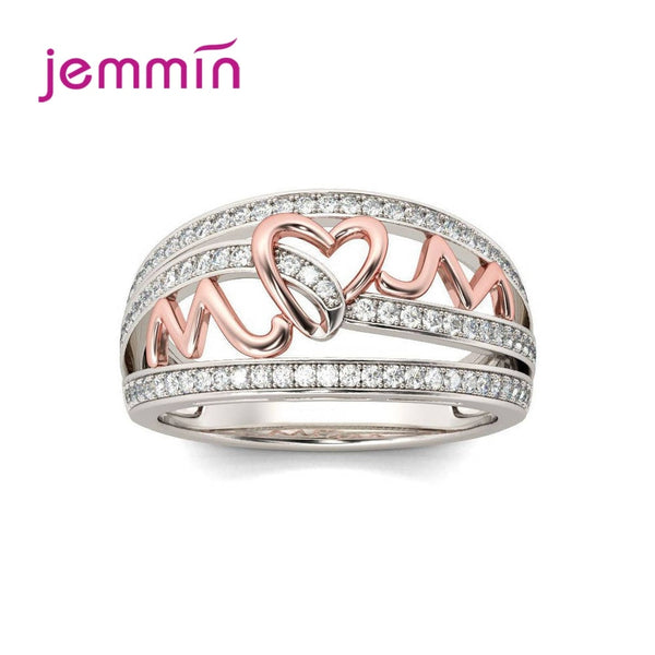 Korean Women Simple 925 Sterling Silver Elegant Heart Love Rings Wedding Anniversary Cubic Zirconia Jewelry Gifts Top Vendor