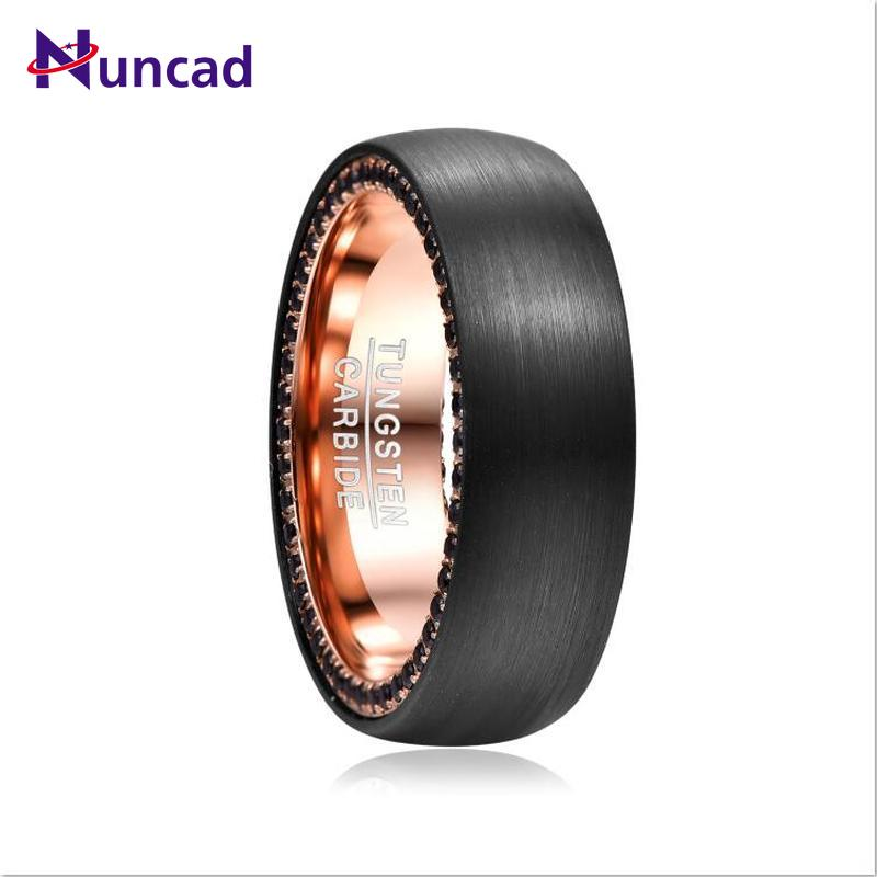 2020 8mm Width Tungsten Carbide Ring Surface Black Brushed Inner Ring Rose Gold Side Black Zircon Tungsten Steel Men's Ring