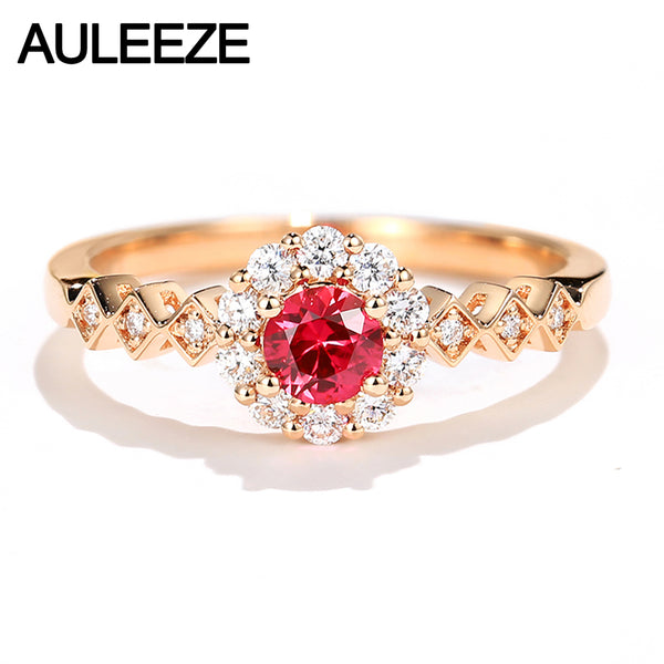 AULEEZE 0.25CT Natural Ruby Ring Real Diamond 18K Rose Gold Ring Gemstone Jewelry Anniversary Gift