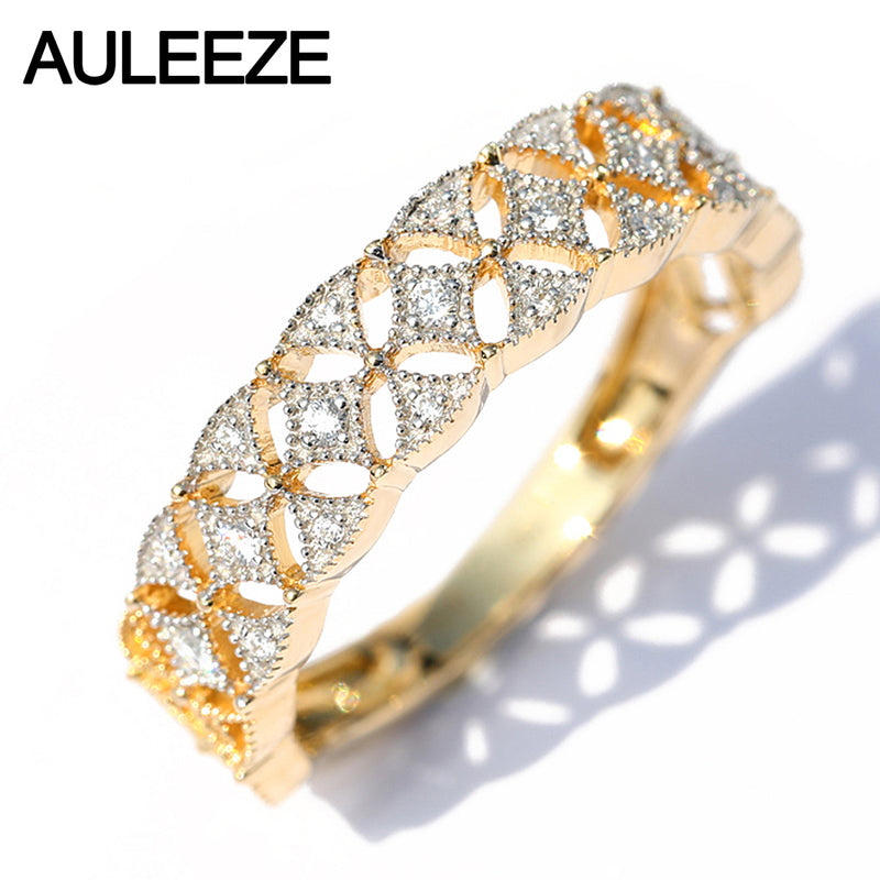 AULEEZE Vintage Sold 18K Yellow Gold Diamond Ring Square Lace elegant Female ring