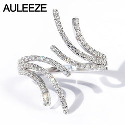 AULEEZE Feather Design Natural Diamond Ring 18k White Gold Real Diamond Female Ring Fashion Personality Party Ring