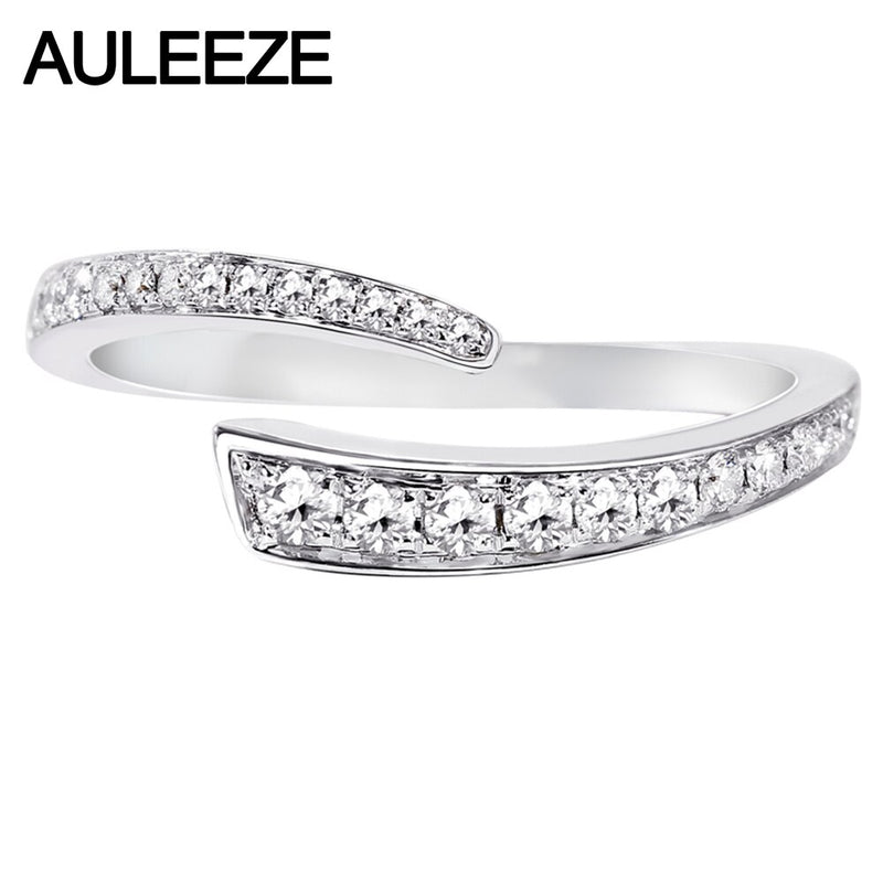 AULEEZE Simplicity Office Lady Rings 0.23cttw Real Diamond Wedding Band Solid 18K 750 White Gold Natural Diamond Jewelry