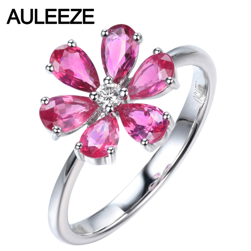 AULEEZE Pear Cut Natural Pink Sapphire Diamond Ring Real 18k White Gold Gemstone Flower Female Ring
