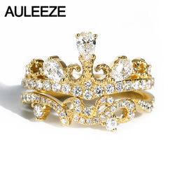 AULEEZE 14K Yellow Gold Moissanite Bridal Set Vintage Crown Water Drop Moissanite Diamond Wedding Rings For Female Fine Jewelry