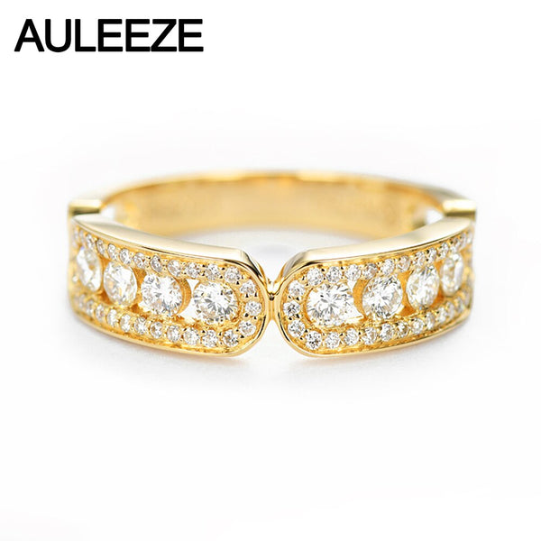 AULEEZE Classic 18K Yellow Gold Diamond Ring 0.60cttw Real Diamond Female Ring Anniversary Band