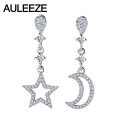 AULEEZE Star Moon 0.27cttw Natural Real Diamond Drop Earrings Solid 18K White Gold Earrings For Women Wedding Fine Jewelry