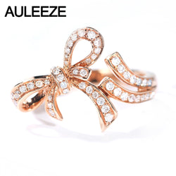 AULEEZE Romantic Bow Knot Real Diamond Ring 18K Rose Gold Office Lady Party Rings Natural Diamond Jewelry