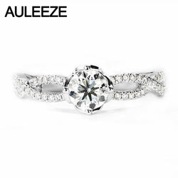 AULEEZE 0.5ct D Color Moissanites Diamond Engagement Ring 14k 585 White Gold Wedding Twist Band For Women Fine Jewelry
