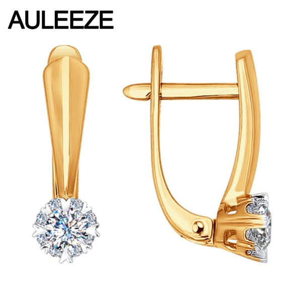 AULEEZE Classic Round Brilliant Cut Moissanite Diamond Clip Earrings for Women 9K White Gold Earring Wedding Jewelry