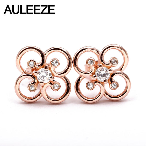 AULEEZE 0.26CTW Flower Real Natural Diamond Stud Earrings 18K Solid Rose Gold Earrings Wedding Fine Jewelry