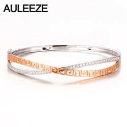 AULEEZE Luxury Design Promised Jewelry Solid 14K Two Tone Gold Genuine Diamond Bangle Bracelet for Women Loving Gift