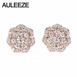 AULEEZE 18K Rose Gold Flower Diamond Stud Earrings Exquisite Luxury 0.78cttw Real Natural Diamond Earrings Wedding Jewelry