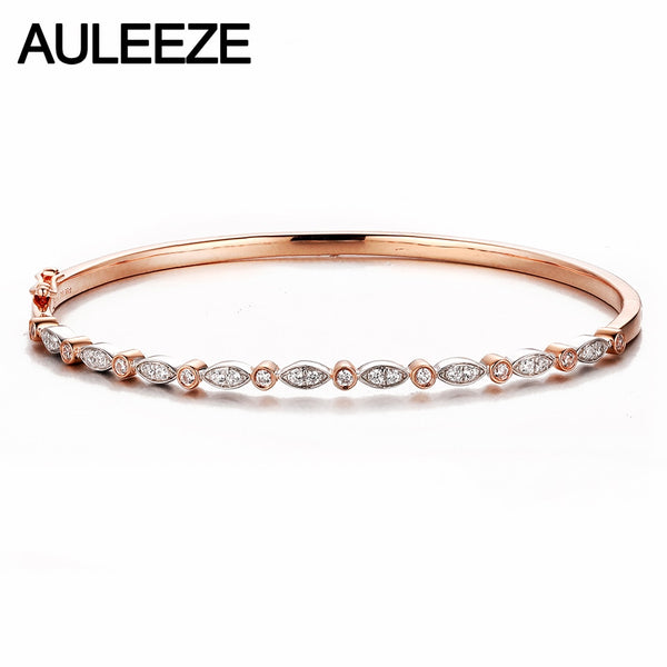 AULEEZE 14K Rose White Gold Diamond Bangle Classic Stack Real Natural Diamond Bracelet Bangle Office Lady Jewelry