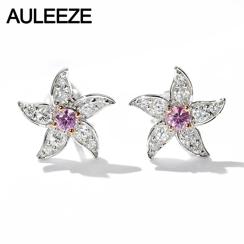 AULEEZE 18K White Gold Diamond Stud Earrings Natural Pink Sapphire Earrings Exquisite Flower Earrings