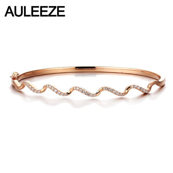 AULEEZE 14K Rose Gold Real Diamond Bangle Wave Design 585 Solid Gold Diamond Bangle Office Lady Jewelry