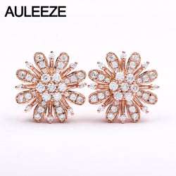 AULEEZE Natural 0.46cttw Diamond Flower Earrings Real 18k Rose Gold Stud Earrings for Women Wedding Fine Jewelry Gifts