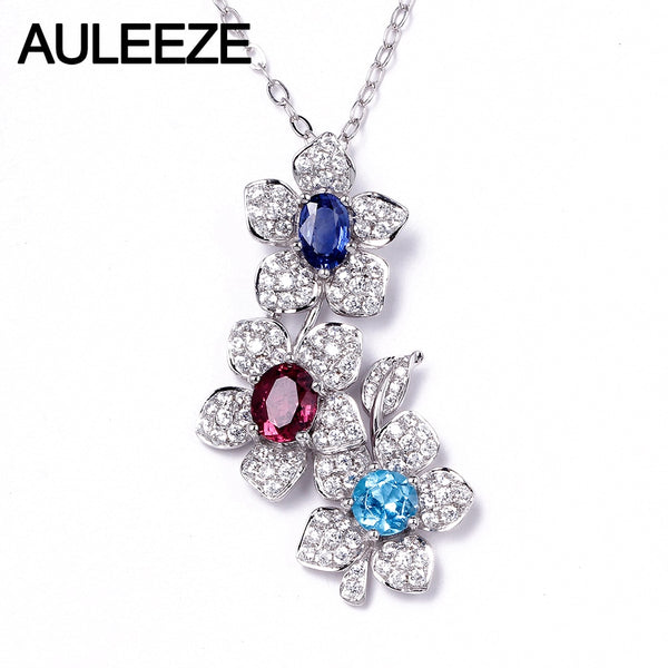 AULEEZE Real Natural Sapphire Tourmaline Topaz Pendant 14K 585 White Gold Flower Pendant Oval Cut Multi Gemstone Wedding Jewelry