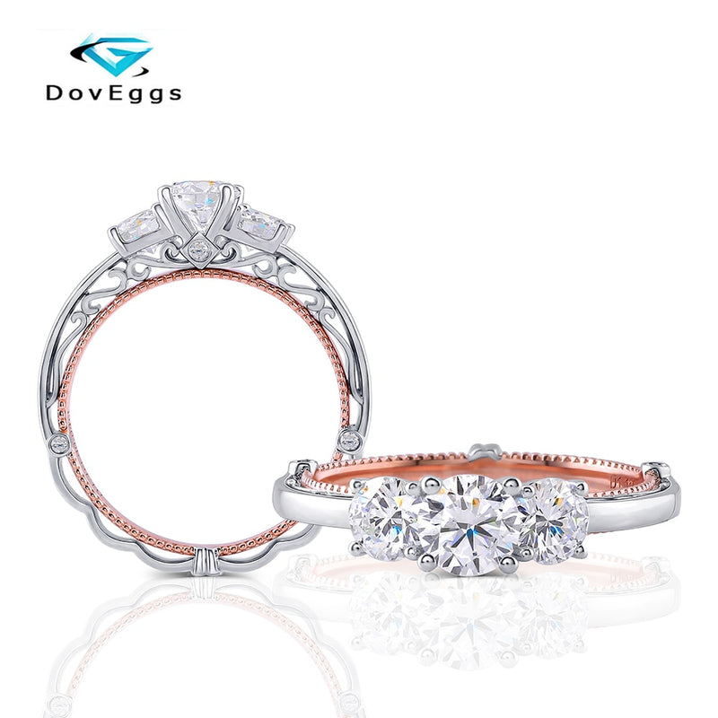 Doveggs Lab Created CVD Diamond Ring 14K White and Rose Gold 1.1 CT center 4mm-5mm-4mm DEF Color Round Diamond Ring For Women