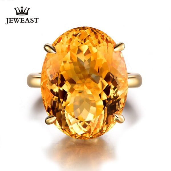 ML Natural Citrine 18K Pure Gold 2019 New Hot Selling Top Ring Women Heart Shape Ring  For Ladies  Woman Genuine Jewelry