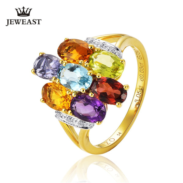 ENZO Various natural gemstones such as garnet 18K Pure Gold 2019 New Hot SellingTop Ring Shape Ring For  Woman Genuine Jewelry