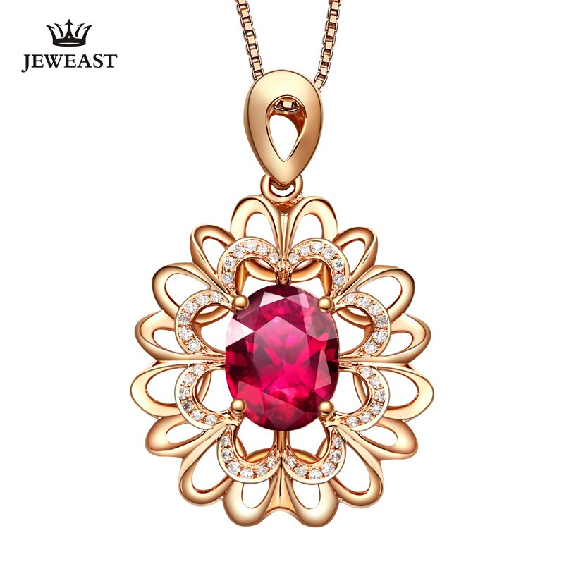 LSZB Natural Red tourmaline 18K Pure Gold Pendant Real AU 750 Solid Gold  Upscale Trendy Classic Fine Jewelry Hot Sell New 2019