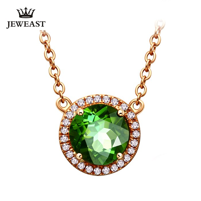 LSZB Natural green tourmaline 18K Pure Gold Pendant Real AU 750 Solid Gold  Upscale Classic Party Fine Jewelry Hot Sell New 2019