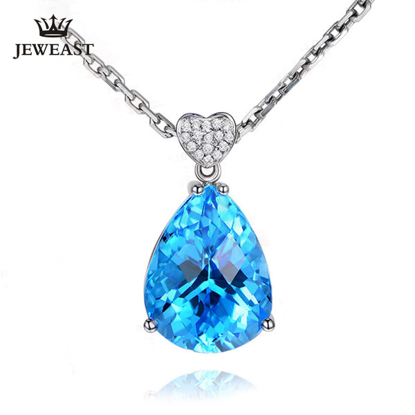 ML Natural topaz 18K Pure Gold Pendant Real AU 750 Solid Gold  Upscale Trendy Classic Party Fine Jewelry Hot Sell New 2019