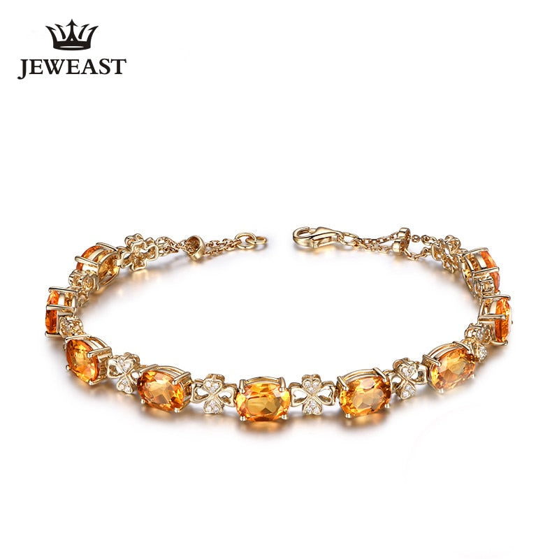 MLZB Citrine 18k Pure Gold Female Bracelets Fine Jewelry  Gift Girl Thin Trendy Solid 750 Real Bangle Party Good Nice