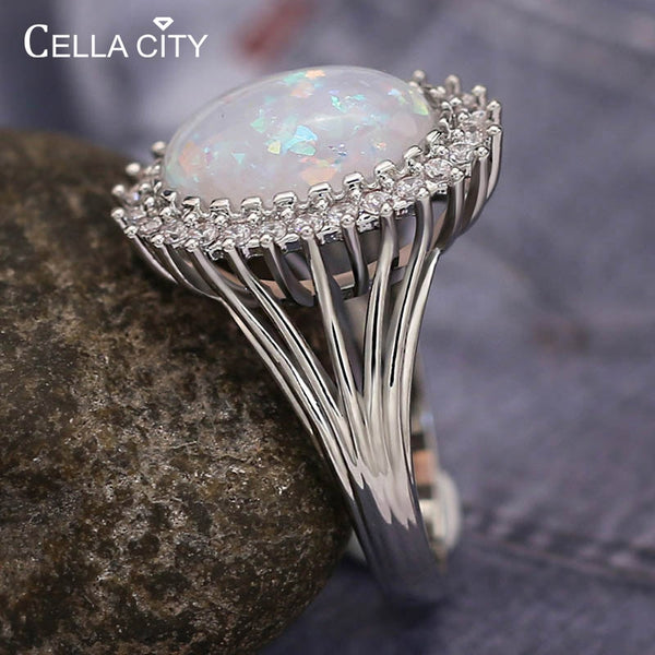 Cellacity Classic 925 Sterling Silver Rings For Women With Oval Opal Gemstones Size 6-10 Women Fine Jewelry Party Wholesale Gift