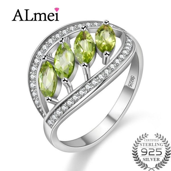 Almei 4pcs 1.5ct Green Peridot 925 Sterling Silver Leaves Rings for Women Original Handmade Prevent Allergy with Box 40% FJ110