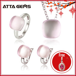 Natural Rose Quartz Sterling Silver Jewelry Sets Cabochon Cut 20.6 Carats Natural Pink Crystal Top Quality Stone Romantic Style